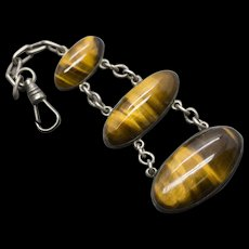 Victorian Tiger's Eye Sterling Silver Three Tiered Watch Fob Pendant