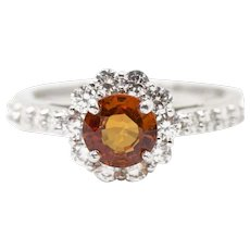 1.90ctw Natural Orange Sapphire and Diamond 14k White Gold Halo Ring