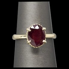 3.09ct Ruby 14k Yellow Gold Solitaire Ring Size 7.5