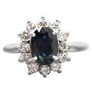 1.69ctw Natural Rich Teal Blue Sapphire and Diamond 14k White Gold Halo Ring