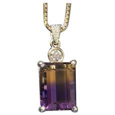 29.41ctw Emerald Cut Ametrine and Diamond 14k Yellow Gold Necklace