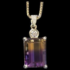 29.41ctw Emerald Cut Ametrine and Diamond 14k Yellow Gold Necklace