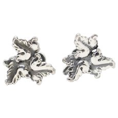 DAFRI Leaf Design Sterling Silver Screw Back Earrings