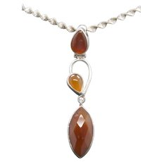 Handcrafted Carnelian and Sterling Silver Pendant