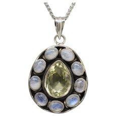 Blue Moonstone and Lemon Quartz Bezel Set Sterling Silver Pendant