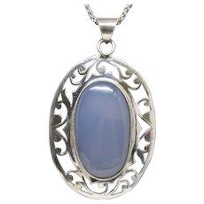 Blue Gray Agate Sterling Silver Bezel Set Floral Motif Pendant