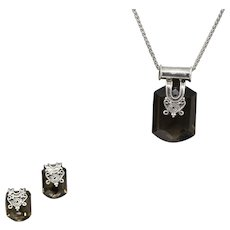 Smoky Quartz and Sterling Silver Earrings and Necklace Set