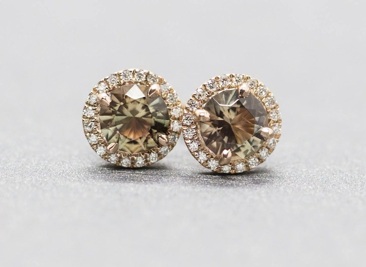 19a12e050 Handcrafted Natural Oregon Sunstone and Diamond Halo Earrings in 14k Rose  Gold