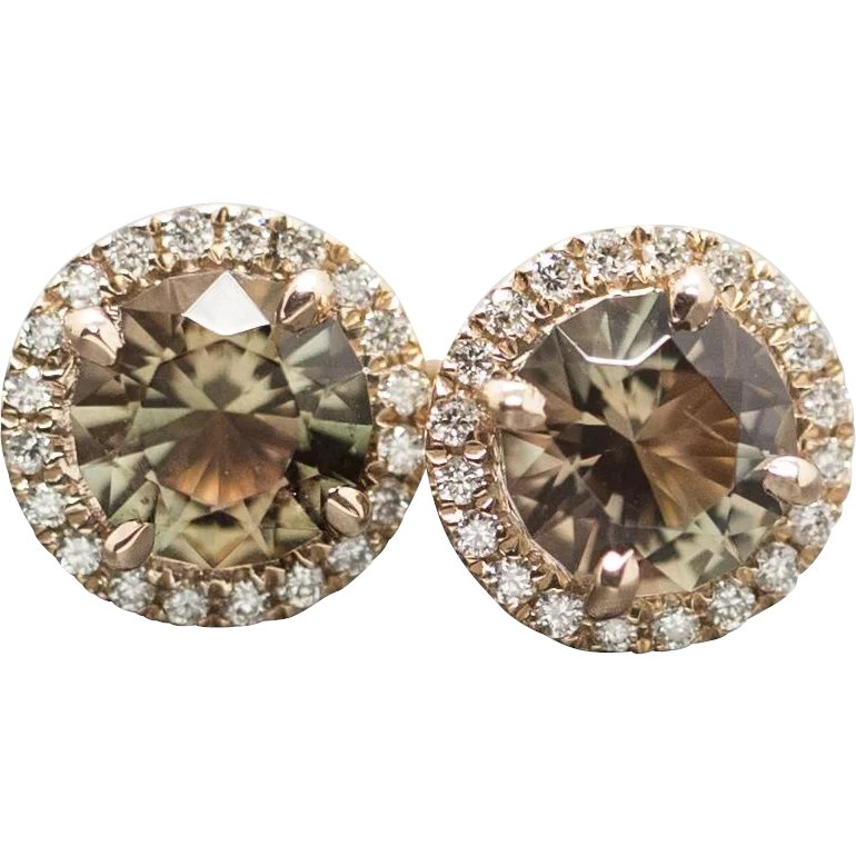 3a69c210d Handcrafted Natural Oregon Sunstone and Diamond Halo Earrings in 14k : The  Jeweled Crescent | Ruby Lane