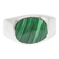 Vintage Taxco Mexico Malachite Inlay Sterling Silver Ring Size 7.5