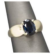 1.27ct Natural Untreated Rich Blue Sapphire Solitaire Ring in 14k Yellow Gold