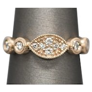 Handcrafted 0.30ctw Diamond 14K Rose Gold Stacking Stackable Ring