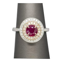 1.63ctw Natural Round Ruby & Diamond Double Halo 18K White and Rose Gold Ring