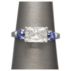 2.21ctw F I2 GIA Certified Radiant Cut Diamond and Blue Sapphire 14K Ring