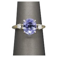 2.52ctw Tanzanite and Diamond Accent Ring, Platinum Head 14k