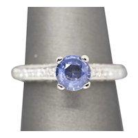 1.50ctw Cornflower Blue Sapphire & Diamond Engagement Wedding Ring 14k