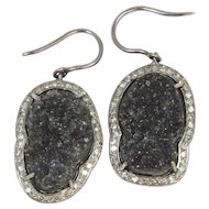 Handmade Black Druzy Drusy Quartz and Diamond Earrings