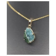 Handcrafted Drusy Druzy Chrysocolla Geode Pendant 14k Rose Gold