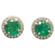 1.61ctw Natural Emerald and Diamond Halo Earrings 14k