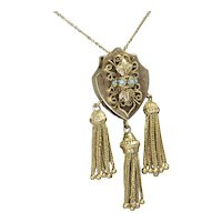 Victorian Solid 14k Yellow Gold Shield Turquoise Tassel Slide Pendant Necklace