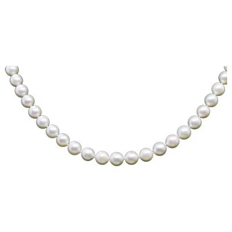 """7mm Vintage Akoya Pearl Necklace 20"""" 14k Yellow Gold"""