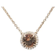 STUNNING Handcrafted 1.94ctw Oregon Sunstone and Diamond Halo Necklace Rose Gold 14k