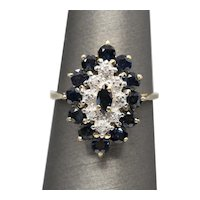 2.00ctw Natural Deep Blue Sapphire and Diamond Cluster Navette Cocktail Ring Vintage 14k