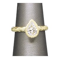 Handcrafted 1.17ct Pear Shaped Diamond Peony Engraved Bezel Set Wedding Engagement Ring