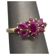 3.15ctw Vintage Ruby Flower Statement Ring 14k Gold