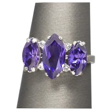 Vintage 3.00ctw Stunning Marquise Amethyst and White Sapphire Cocktail Ring 10k White Gold