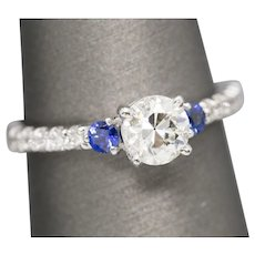 Handcrafted 0.96ctw Old Euroepan Cut and Round Diamond and Sapphire Ring 14k