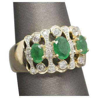 3.25ctw Vintage Emerald and Diamond Cocktail Ring 14k