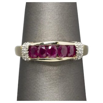 2.00ctw Two Tone Vintage Ruby and Diamond Accent Band Ring 14k