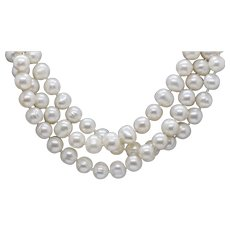 "54"" Opera Length Vintage Cultured Freshwater Pearls 9mm Necklace"
