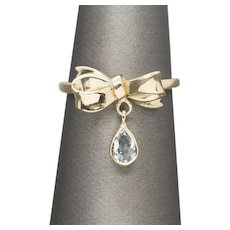 0.30ctw Aquamarine Bow Ribbon Dangle Charm Ring 14k Yellow Gold March Birthstone