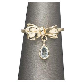 0.30ctw Aquamarine Bow Ribbon Dangle Charm Ring 14k Yellow Gold