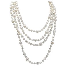 """80"""" Freshwater Pearl Infinity Necklace Opera Length 6mm - 10mm"""