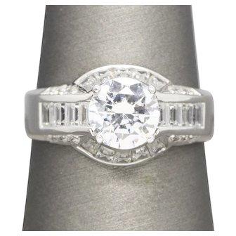 3.25ctw Art Deco Style Diamonique™ Statement Ring 14k White Gold