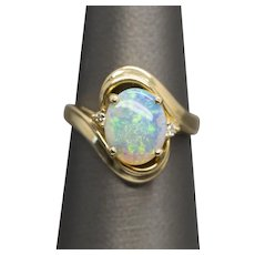 1.53ctw Opal and Diamond Accent Swirl Statement Ring 14k