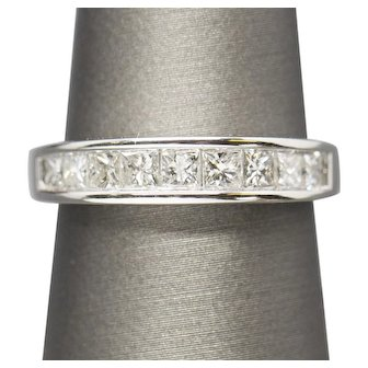 0.98ctw Princess Cut Channel Set Diamond Wedding Band Ring 14k White Gold