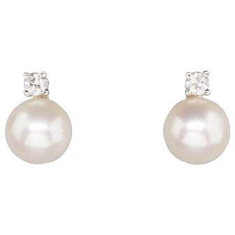 8.5mm Akoya Pearl and 0.20ctw Diamond Stud Earrings 18k Blue Nile