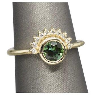 Handcrafted 0.75ctw Green Tourmaline and Diamond Sunrise Ring 14k
