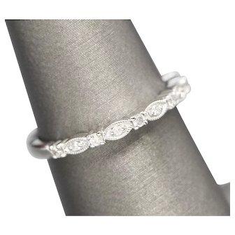 0.10ctw Diamond Filigree Wedding Band Ring 14k White Gold