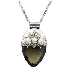 Handcrafted, Artisan Sterling Silver and Olive Smoky Quartz Pendant