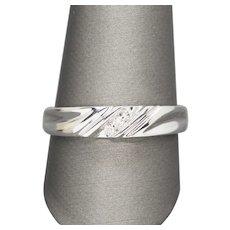 0.06ctw Diamond and White Gold Men's Wedding Band 10k