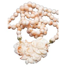 Victorian Carved Angel Skin Coral Necklace