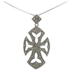 Gorgeous Vintage Sterling Silver and Marcasite Gothic Cross Pendant