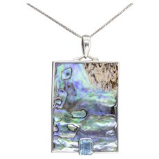 1.60ctw Marta Howell Blue Topaz and Black Lip Mother of Pearl Pendant