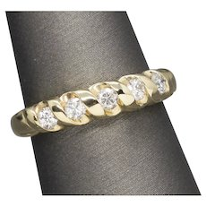 0.50ctw Five Stone Diamond Wedding Band Ring in 14k Yellow Gold