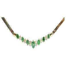 1.20ctw Natural Emerald and Diamond V Herringbone Necklace 14k